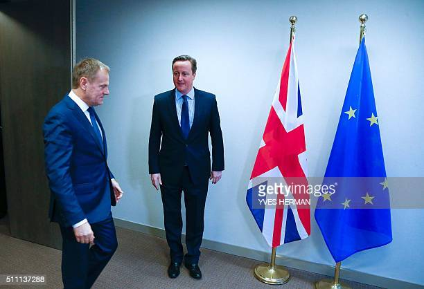 Britain's Prime Minister David Cameron and European Council President Donald Tusk arrive to pose for a photo as they meet ahead of an EU summit...