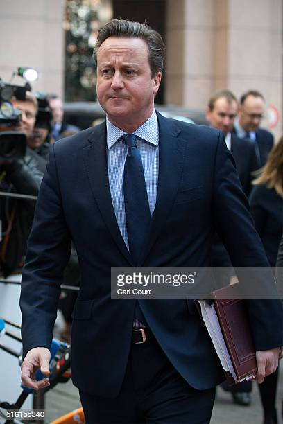 Britain's Prime Minister David Cameron arrives at the Council of the European Union on the first day of an EU summit on March 17 2016 in Brussels...