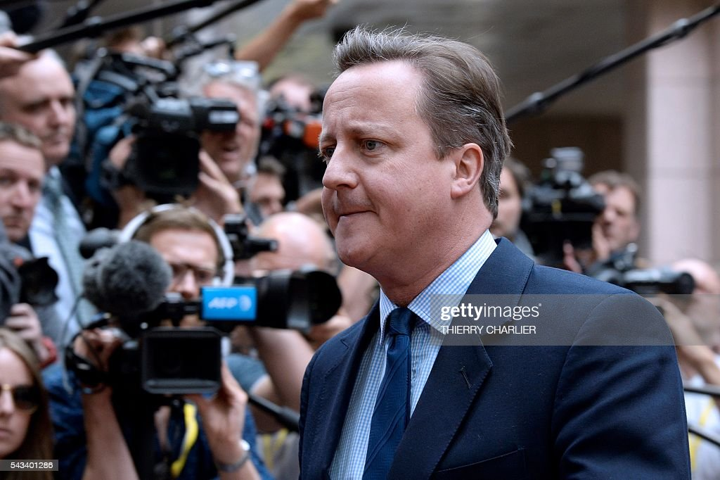 Britain's Prime minister David Cameron arrives before an EU summit meeting on June 28, 2016 at the European Union headquarters in Brussels on June 28, 2016. / AFP / THIERRY