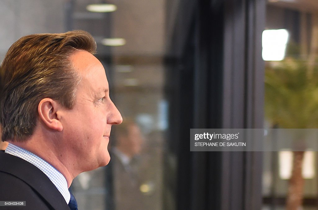 Britain's Prime minister David Cameron arrives before an EU summit meeting on June 28, 2016 at the European Union headquarters in Brussels. / AFP / STEPHANE