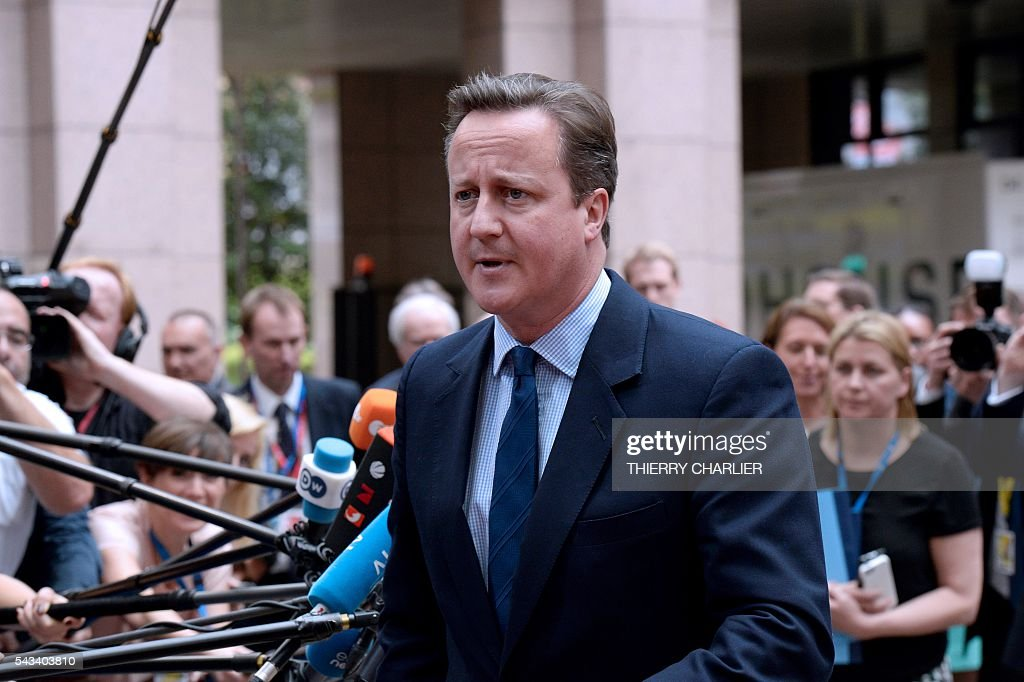 Britain's Prime minister David Cameron arrives before an EU summit meeting on June 28, 2016 at the European Union headquarters in Brussels. / AFP / THIERRY