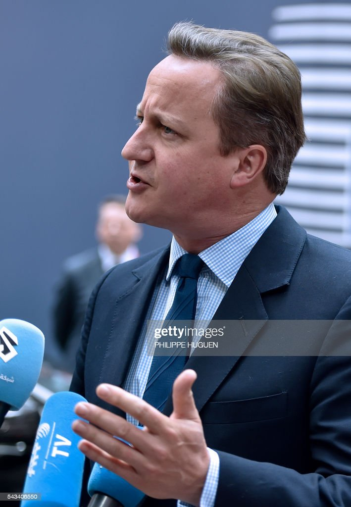 Britain's Prime minister David Cameron arrives before an EU summit meeting on June 28, 2016 at the European Union headquarters in Brussels. / AFP / PHILIPPE