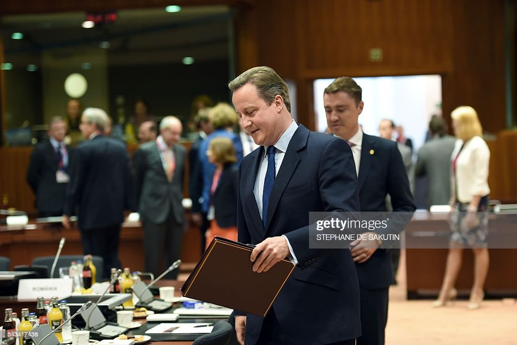 Britain's Prime minister David Cameron arrives to attend an EU summit meeting on June 28, 2016 at the European Union headquarters in Brussels. Prime Minister David Cameron said Tuesday he wants the 'closest possible' relations with the EU after Britain voted to leave the bloc, adding the split should be 'as constructive as possible'. As he arrived at a Brussels summit, Cameron, who is to step down within weeks, told reporters that, while Britain was leaving the EU, 'we mustn't be turning our backs on Europe.' SAKUTIN