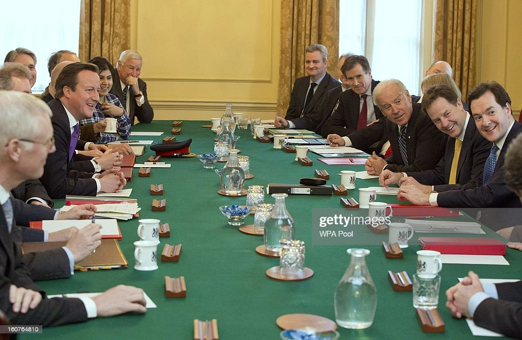 Britain's Prime Minister <a gi-track='captionPersonalityLinkClicked' href=/galleries/search?phrase=David+Cameron+-+Politician&family=editorial&specificpeople=227076 ng-click='$event.stopPropagation()'>David Cameron</a> (C, L) chairs a security briefing attended by U.S. Vice President Joe Biden (C, R) at Number 10 Downing Street on February 5, 2013 in London, England. Mr Biden met with Deputy Prime Minister Nick Clegg and Prime Minister <a gi-track='captionPersonalityLinkClicked' href=/galleries/search?phrase=David+Cameron+-+Politician&family=editorial&specificpeople=227076 ng-click='$event.stopPropagation()'>David Cameron</a> during his visit to the UK, as part of a wider European tour.
