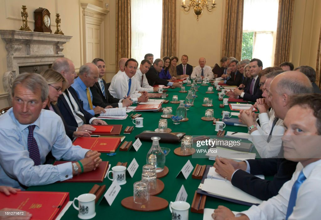 Britain's Prime Minister David Cameron chairs the first cabinet meeting following a ministerial reshuffle with Environment Secretary Owen Paterson...