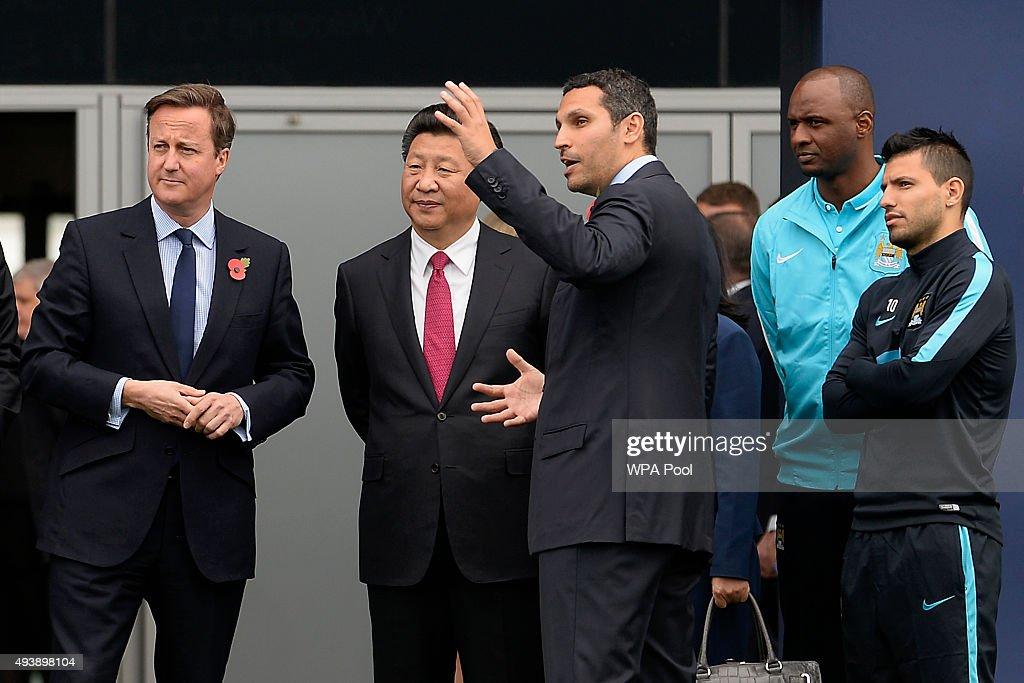 Britain's Prime Minister David Cameron China's President Xi Jinping Manchester City chairman Khaldoon Al Mubarak head of the Elite Development...