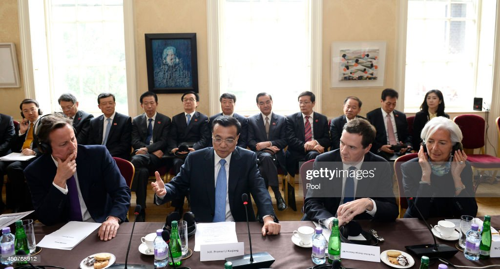 Britain's Prime Minister David Cameron (L) Chinese Premier <a gi-track='captionPersonalityLinkClicked' href=/galleries/search?phrase=Li+Keqiang&family=editorial&specificpeople=2481781 ng-click='$event.stopPropagation()'>Li Keqiang</a> (2-L) Britain's Chancellor of the Exchequer, <a gi-track='captionPersonalityLinkClicked' href=/galleries/search?phrase=George+Osborne&family=editorial&specificpeople=5544226 ng-click='$event.stopPropagation()'>George Osborne</a> (2-R) and IMF Manager Director, <a gi-track='captionPersonalityLinkClicked' href=/galleries/search?phrase=Christine+Lagarde&family=editorial&specificpeople=566337 ng-click='$event.stopPropagation()'>Christine Lagarde</a> (R) hold a global economic round table in Downing Street on June 17, 2014 in London, England. During his first official visit to the UK Mr Li will hold talks with British Prime Minister David Cameron and met the Queen at Windsor Castle. At the start of Mr Li's three-day visit, the Home Office announced a new visa service, to be offered to all Chinese visitors to the UK following a pilot programme for tour operators last year.