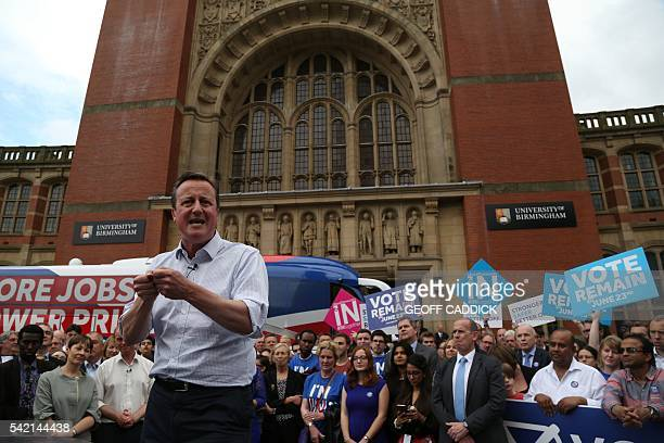 Britain's Prime Minister David Cameron delivers a speech at a Britain Stronger In Europe event campaigning for people to vote to remain in the EU in...