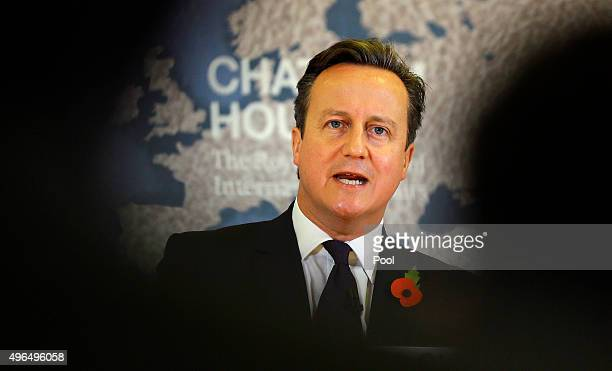 Britain's Prime Minister David Cameron delivers a speech on EU reform and the UKs renegotiation at Chatham House on November 10 2015 in London...