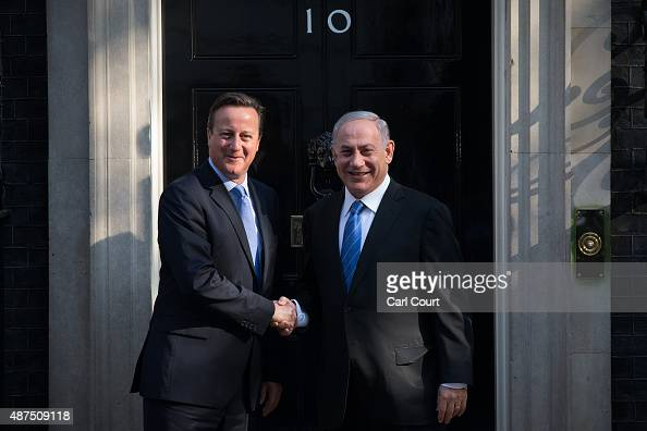 Britain's Prime Minister David Cameron greets Israeli Prime Minister Benjamin Netanyahu in Downing Street on September 10 2015 in London England Mr...