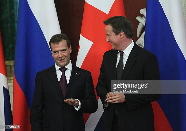 Britain's Prime Minister David Cameron meets Russia's President Dmitry Medvedev at Grand Kremlin Palace on September 12 2011 in Moscow Russia...