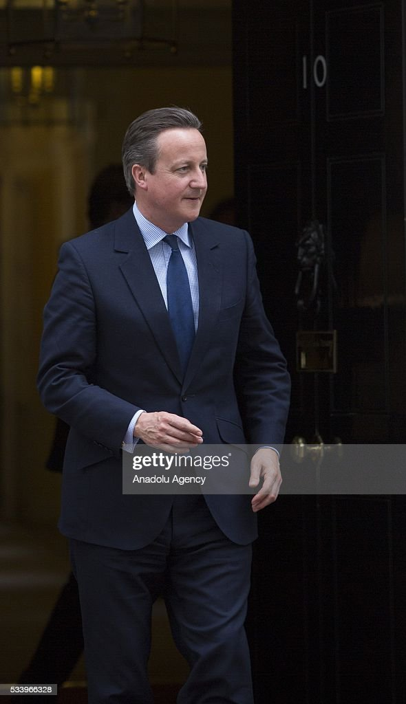 Britain's Prime Minister David Cameron waits to greet Hungary's President Janos Ader at Downing Street in London, Britain on May 24, 2016.