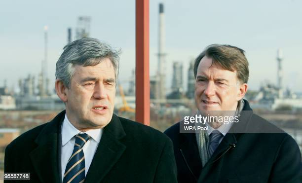 Britain's Prime Minister Gordon Brown and Business secretary Peter Mandelson visit DP World London Gateway port construction site at StandfordleHope...