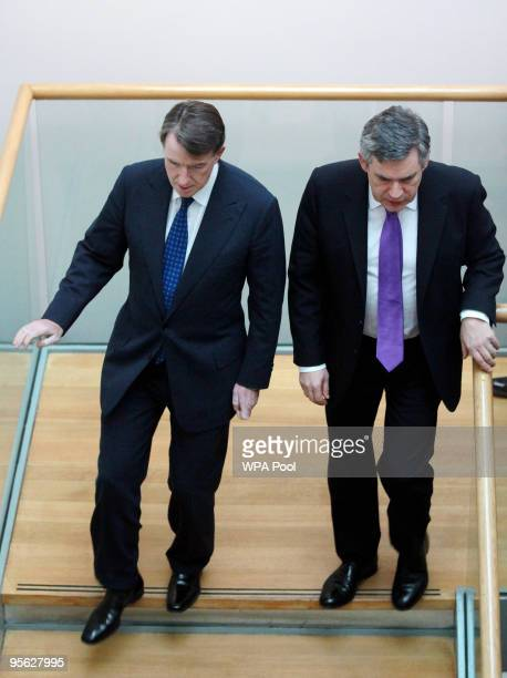 Britain's Prime Minister Gordon Brown and Lord Mandelson arrive at the launch of a new growth strategy at the Department for Business Innovation...