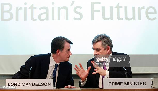 Britain's Prime Minister Gordon Brown and Lord Mandelson attend the launch of a new growth strategy at the Department for Business Innovation Skills...