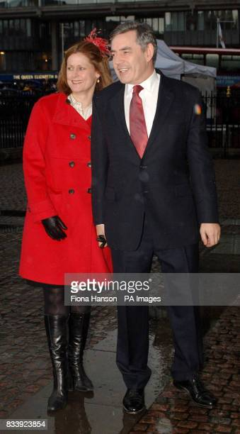 Britain's Prime Minister Gordon Brown and wife Sarah arrive at Westminster Abbey London for a service of celebration to mark the diamond wedding...