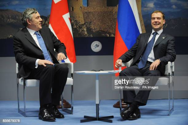 Britain's Prime Minister Gordon Brown holds a bilateral meeting with Russian President Dimitri Medvedev at the G8 Summit in L'Aquila Italy