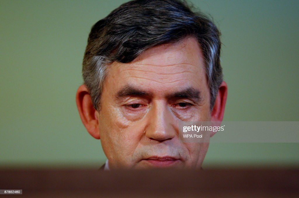 Britain's Prime Minister Gordon Brown is seen at his monthly press conference at 10 Downing Street on May 19, 2009 in London, United Kingdom. The Prime Minister faced questions about the resignation of Michael Martin the speaker of the House of Commons, a casualty of a scandal into the abuse of MP's expenses claims.