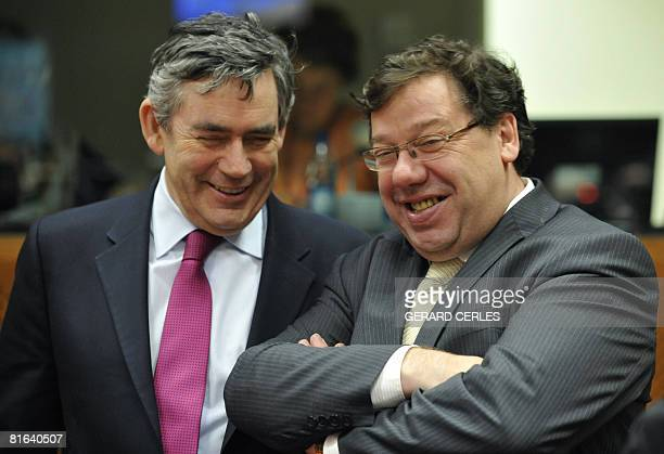 Britain's Prime Minister Gordon Brown laughs with Ireland's Prime Minister Brian Cowen prior to a working session on a second day of a European...