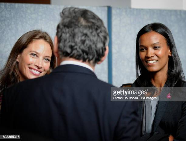 Britain's Prime Minister Gordon Brown meets models Christie Turlington and Liya Kebede at an event promoting good health in Africa before speaking at...