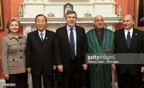 MORATINOS Britain's Prime Minister Gordon Brown poses with Hillary Clinton Ban Ki Moon Afghan President Hamid Karzai and Aga Khan inside 10 Downing...