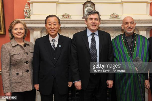 Britain's Prime Minister Gordon Brown poses with Hillary Clinton Ban Ki Moon and Afghan President Hamid Karzai inside 10 Downing Street ahead of the...