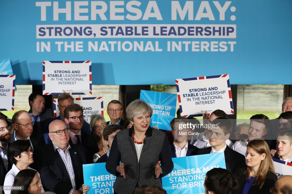Britain's Prime Minister Theresa May addresses an audience of supporters during a campaign stop on May 2, 2017 in Bristol, England. The Prime Minister is campaigning in South-West England, a former Liberal Democrat stronghold, as she urges West Country voters to stick with her party ahead of the polls on June 8.