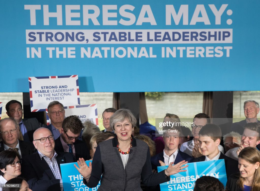Britain's Prime Minister Theresa May addresses an audience of supporters during a campaign stop on May 2, 2017 in Bristol, England. The Prime Minister is campaigning in South-West England, a former Liberal Democrat stronghold, as she urges West Country voters to stick with her party ahead of the polls on June 8