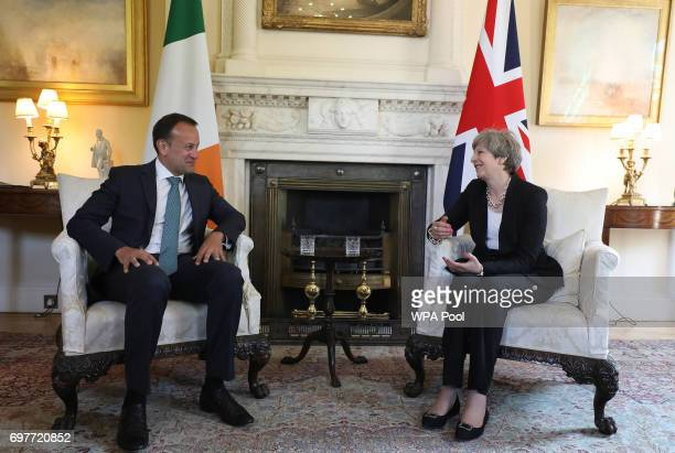 Britain's Prime Minister Theresa May and Irish Taoiseach Leo Varadkar have talks at 10 Downing Street on June 19 2017 in London England The new Irish...