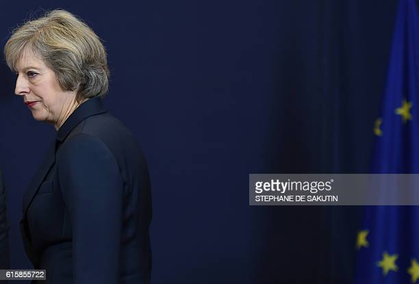 Britain's Prime minister Theresa May arrives for a family picture during an European Union leaders summit on October 20 2016 at the European Council...