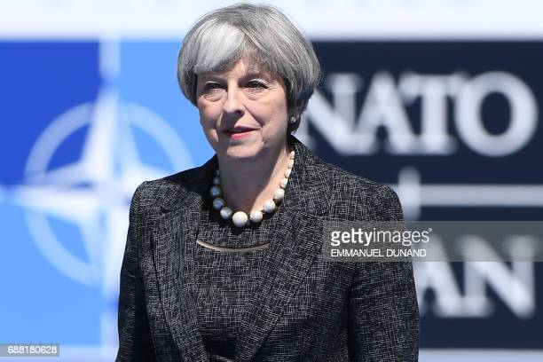 Britain's Prime Minister Theresa May arrives for the NATO summit at the NATO headquarters in Brussels on May 25 2017 / AFP PHOTO / Emmanuel DUNAND