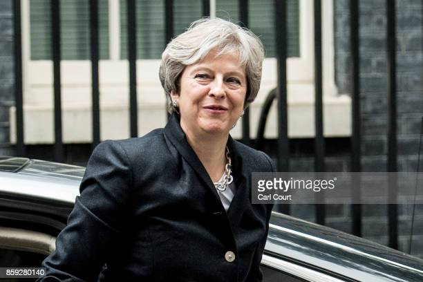 Britain's Prime Minister Theresa May arrives in Downing Street on October 9 2017 in London England Prime Minister Theresa May will tell parliament...