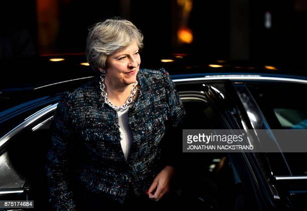 Britain's Prime minister Theresa May arrives to attend the European Social Summit in Gothenburg Sweden on November 17 2017 / AFP PHOTO / Jonathan...