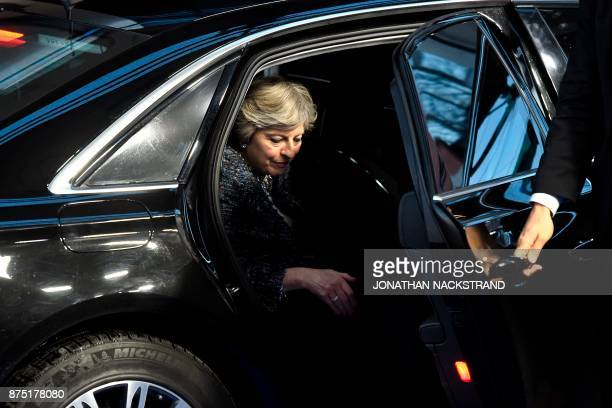 TOPSHOT Britain's Prime minister Theresa May arrives to attend the European Social Summit in Gothenburg Sweden on November 17 2017 / AFP PHOTO /...