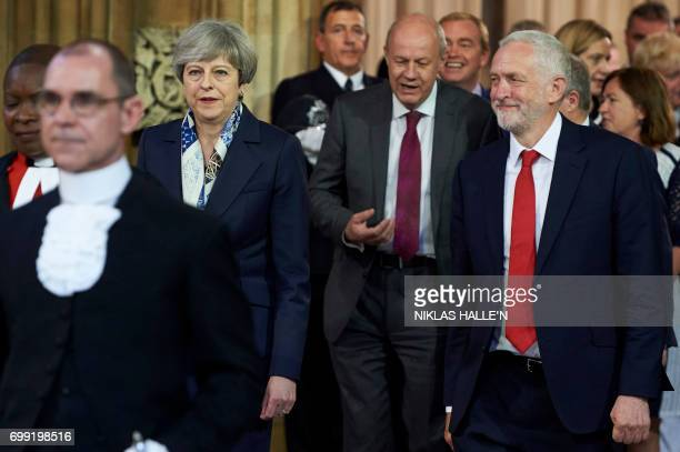 Britain's Prime Minister Theresa May Britain's main opposition Labour Party leader Jeremy Corbyn and Britain's First Secretary of State Damian Green...