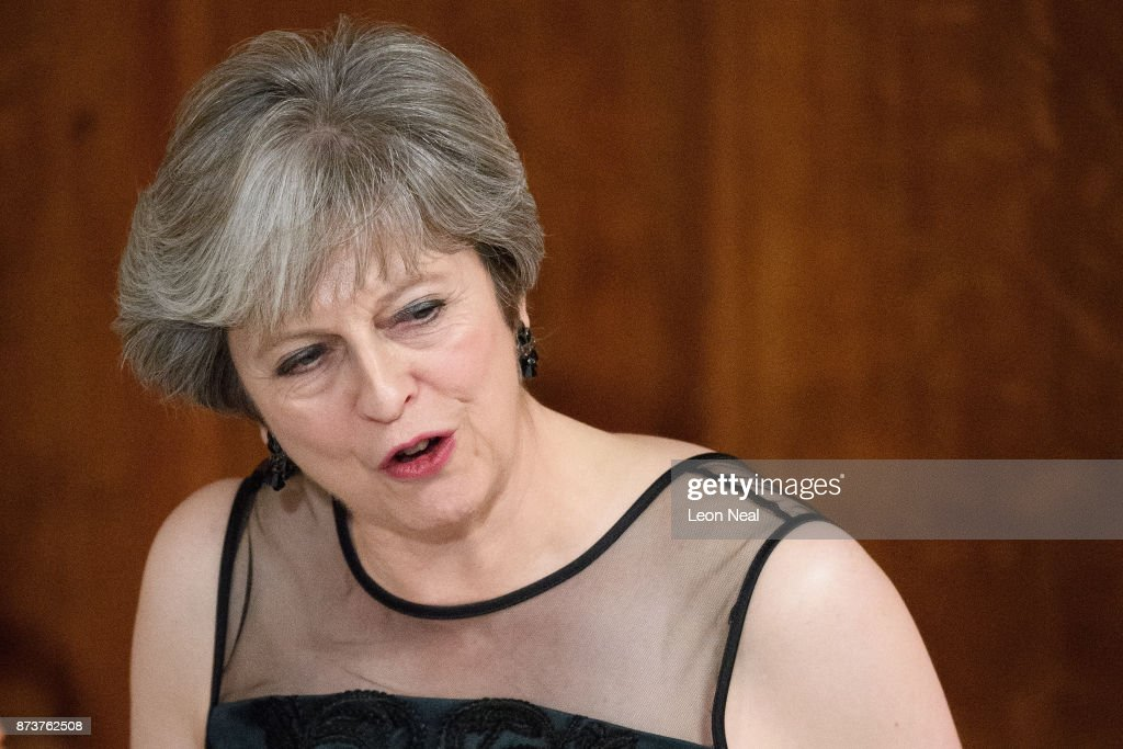Britain's Prime Minister Theresa May delivers her speech at the annual Lord Mayor's banquet on November 13, 2017 in London, England. The Prime Minister spoke of various global issues, including Russia's involvement in destablising countries and elections around the world.