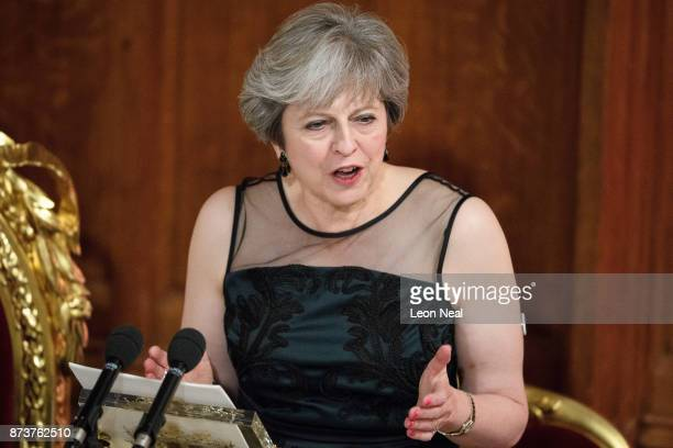 Britain's Prime Minister Theresa May delivers her speech at the annual Lord Mayor's banquet on November 13 2017 in London England The Prime Minister...