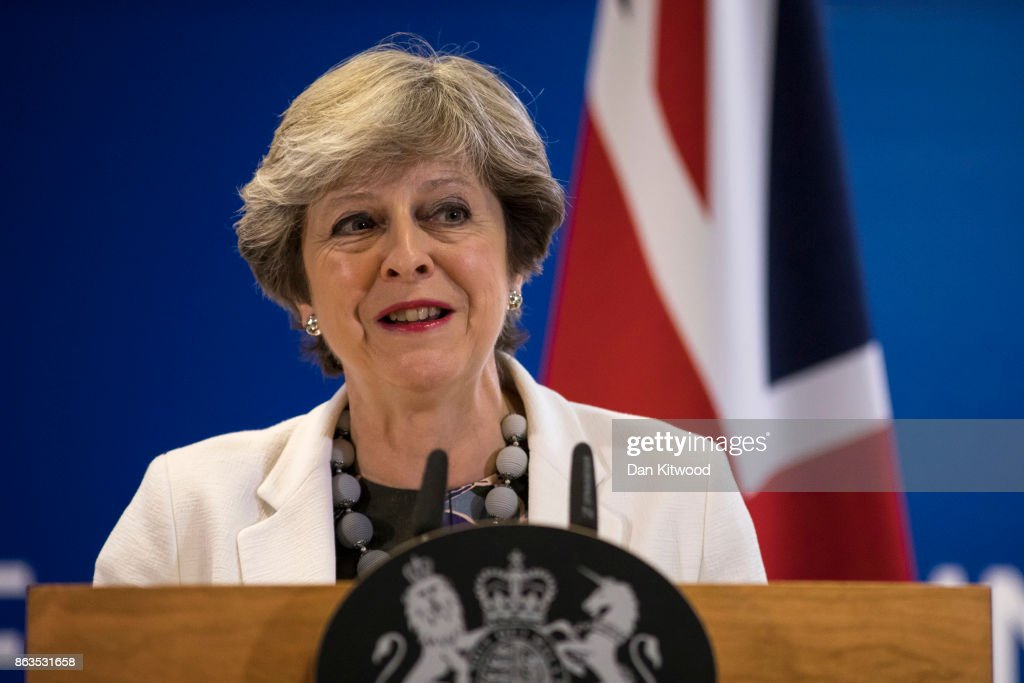 Britain's Prime Minister Theresa May holds a press conference on the second day of European Council meetings at the Council of the European Union building on October 20, 2017 in Brussels, Belgium. Britain's Prime Minister Theresa May attended meetings yesterday with the other 27 EU leaders, which concluded with a dinner speech, in which she asked that she could strike a Brexit deal that she can defend to UK voters.