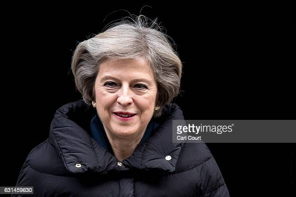 Britain's Prime Minister Theresa May leaves 10 Downing Street to attend the weekly Prime Minister's Questions in the House of Commons on January 11...
