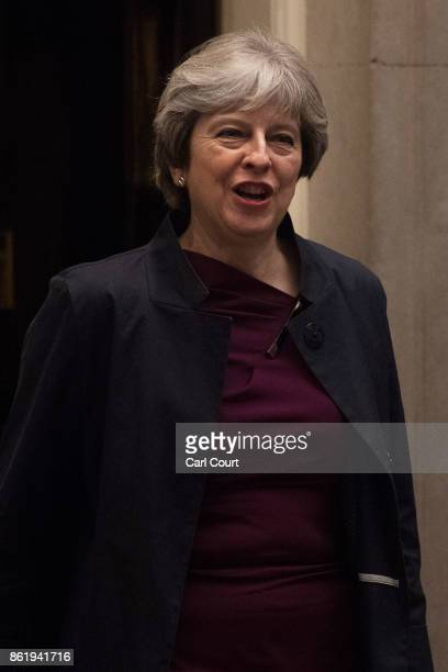 Britain's Prime Minister Theresa May leaves Downing Street on October 16 2017 in London England Mrs May is to travel to Brussels for a dinner with...