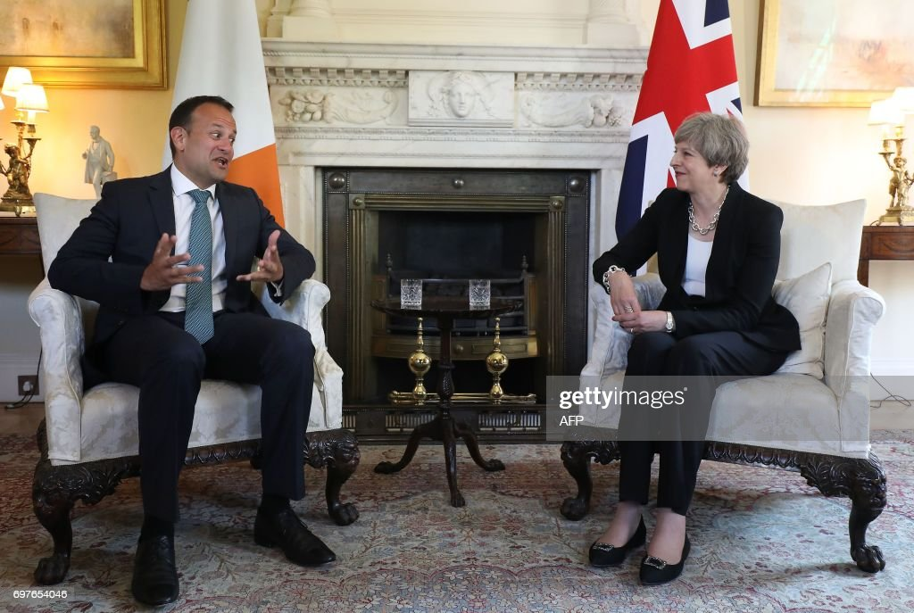 Britain's Prime Minister Theresa May (R) meets with Irish Taoiseach Leo Varadkar (L) at 10 Downing Street in London on June 19, 2017. Brexit negotiations start in Brussels today. Working groups will be set up to focus on three key areas, which include the future of the Northern Irish border with EU member Ireland. PHOTO / POOL / Philip TOSCANO