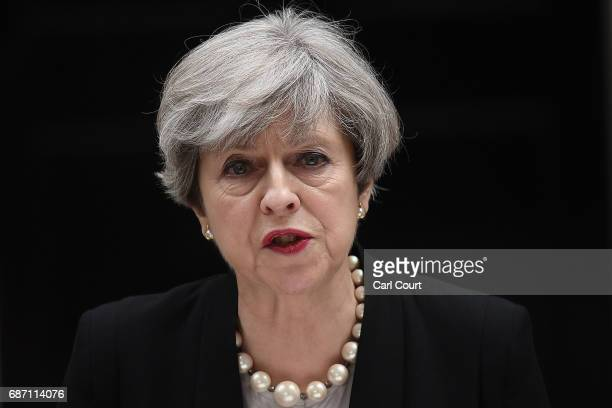Britain's Prime Minister Theresa May speaks to the media after chairing a meeting of the Government's emergency COBRA committee at Downing Street on...