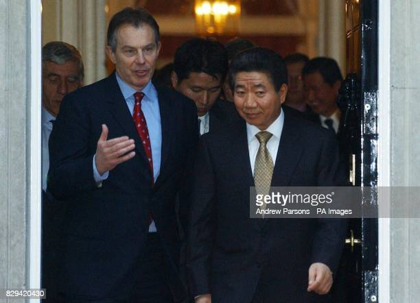 Britain's Prime Minister Tony Blair and President Roh MooHyun leave Downing St in London International moves to defuse tension over North Korea's...