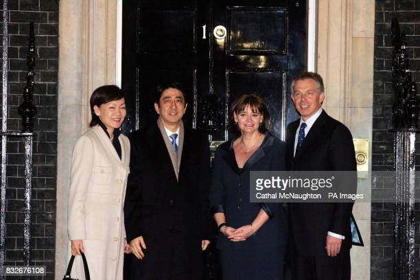 Britain's Prime Minister Tony Blair and wife Cherie outside their official London residence 10 Downing Street greeting the Japanese Prime Minister...
