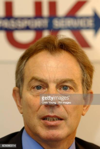 Britain's Prime Minister Tony Blair at the Passport Office in central London The Prime Minister visited the Passport Office who are undertaking a...