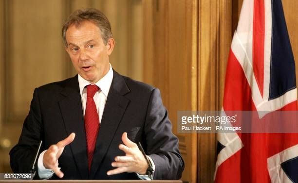 Britain's Prime Minister Tony Blair during a news conference at 10 Downing Street London with Iraq's Prime Minister Nouri alMaliki
