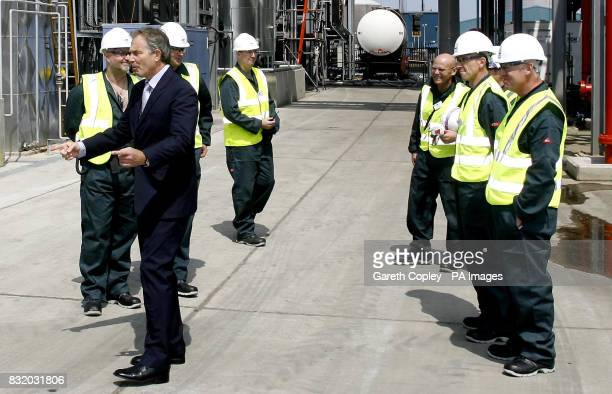 Britain's Prime Minister Tony Blair during a visit to Biofuels Corporation in Seal Sands in Teesside