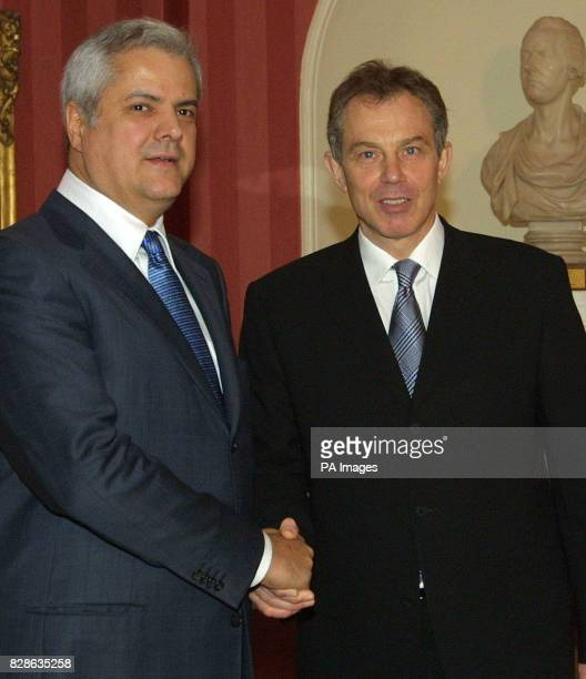 Britain's Prime Minister Tony Blair greets the Romanian Prime Minister Adrian Nastase at No10 Downing Street London * Mr Blair today warned France...