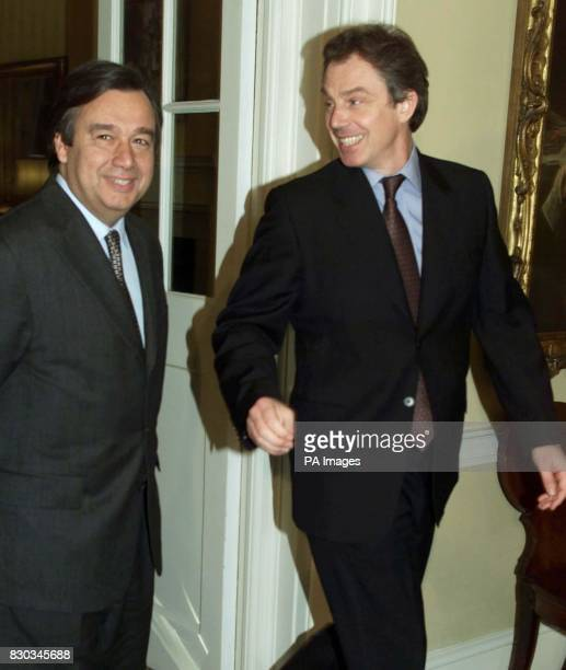 Britain's Prime Minister Tony Blair leads the Portuguese Prime Minister Antonio Guterres towards an informal press conference inside 10 Downing...