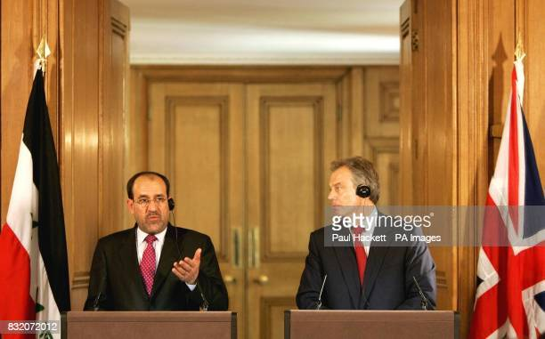 Britain's Prime Minister Tony Blair listens as Iraq's Prime Minister Nouri alMaliki speaks during a news conference at 10 Downing Street London